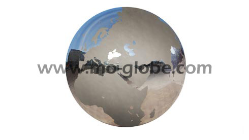 Metal globe made from stainless steel with continents