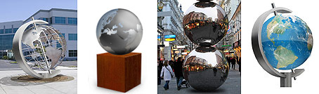 Product overview: metal globe, metal sphere, acrylic sphere & wire world globe